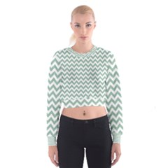 Jade Green And White Zigzag Women s Cropped Sweatshirt