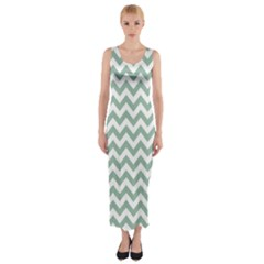 Jade Green And White Zigzag Fitted Maxi Dress