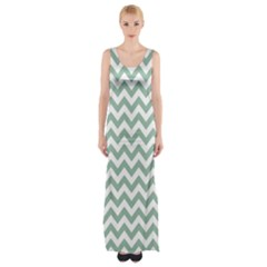 Jade Green And White Zigzag Maxi Thigh Split Dress