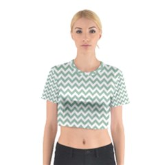 Jade Green And White Zigzag Cotton Crop Top