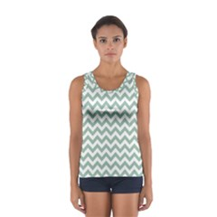 Jade Green And White Zigzag Tops