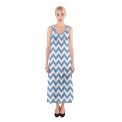 Blue And White Zigzag Full Print Maxi Dress