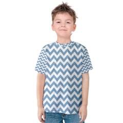 Blue And White Zigzag Kid s Cotton Tee