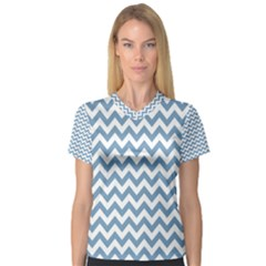 Blue And White Zigzag Women s V Neck Sport Mesh Tee