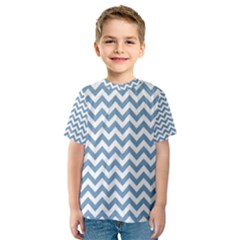 Blue And White Zigzag Kid s Sport Mesh Tee