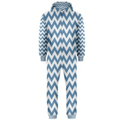 Blue And White Zigzag Hooded Jumpsuit (men)