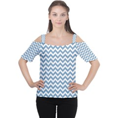 Blue And White Zigzag Women s Cutout Shoulder Tee