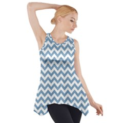 Blue And White Zigzag Side Drop Tank Tunic