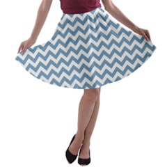 Blue And White Zigzag A-line Skater Skirt