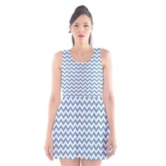 Blue And White Zigzag Scoop Neck Skater Dress