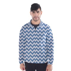 Blue And White Zigzag Wind Breaker (men)