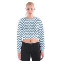 Blue And White Zigzag Women s Cropped Sweatshirt