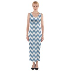 Blue And White Zigzag Fitted Maxi Dress