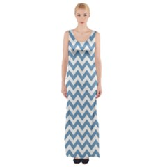 Blue And White Zigzag Maxi Thigh Split Dress
