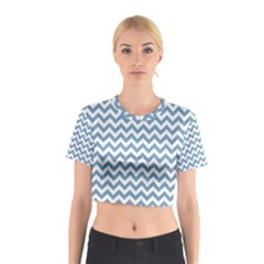 Blue And White Zigzag Cotton Crop Top