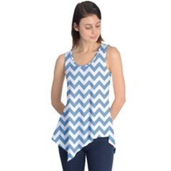 Blue And White Zigzag Sleeveless Tunic