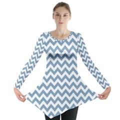 Blue And White Zigzag Long Sleeve Tunic