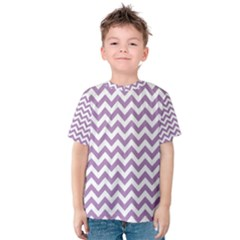 Lilac And White Zigzag Kid s Cotton Tee