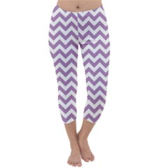 Lilac And White Zigzag Capri Winter Leggings