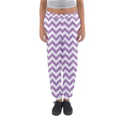Lilac And White Zigzag Women s Jogger Sweatpants
