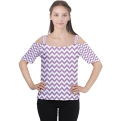 Lilac And White Zigzag Women s Cutout Shoulder Tee