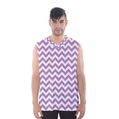 Lilac And White Zigzag Men s Basketball Tank Top