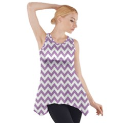 Lilac And White Zigzag Side Drop Tank Tunic