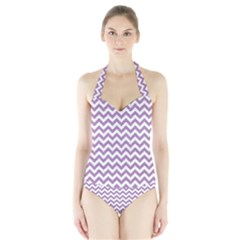 Lilac And White Zigzag Women s Halter One Piece Swimsuit