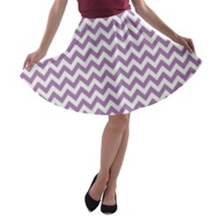Lilac And White Zigzag A Line Skater Skirt