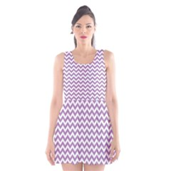 Lilac And White Zigzag Scoop Neck Skater Dress