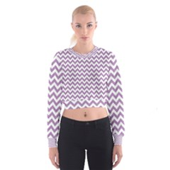 Lilac And White Zigzag Women s Cropped Sweatshirt