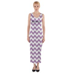 Lilac And White Zigzag Fitted Maxi Dress