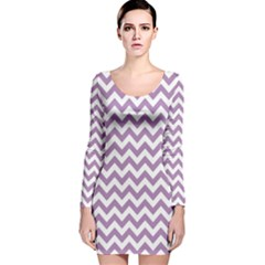 Lilac And White Zigzag Long Sleeve Velvet Bodycon Dress