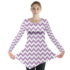 Lilac And White Zigzag Long Sleeve Tunic
