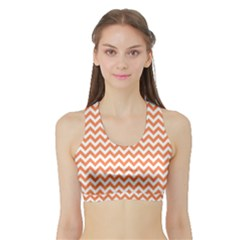Orange And White Zigzag Women s Sports Bra With Border
