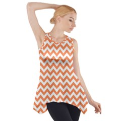 Orange And White Zigzag Side Drop Tank Tunic