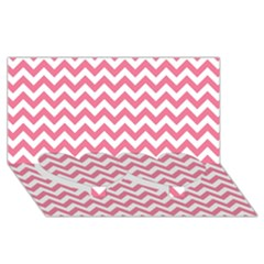 Pink And White Zigzag Twin Heart Bottom 3d Greeting Card (8x4)