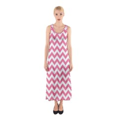 Pink And White Zigzag Full Print Maxi Dress