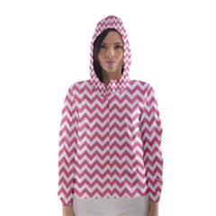 Pink And White Zigzag Hooded Wind Breaker (Women)