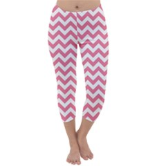 Pink And White Zigzag Capri Winter Leggings