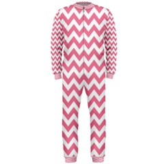 Pink And White Zigzag Onepiece Jumpsuit (men)