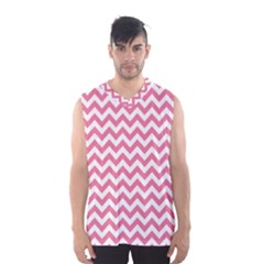 Pink And White Zigzag Men s Basketball Tank Top