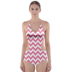 Pink And White Zigzag Cut-Out One Piece Swimsuit
