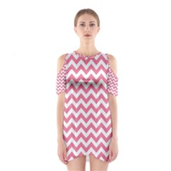 Pink And White Zigzag Cutout Shoulder Dress