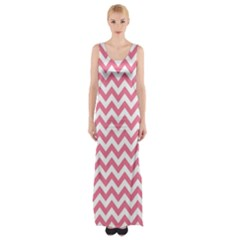Pink And White Zigzag Maxi Thigh Split Dress