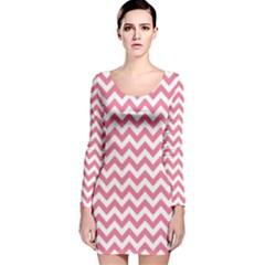 Pink And White Zigzag Long Sleeve Velvet Bodycon Dress
