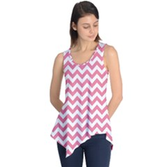 Pink And White Zigzag Sleeveless Tunic
