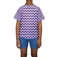 Purple And White Zigzag Pattern Kid s Short Sleeve Swimwear