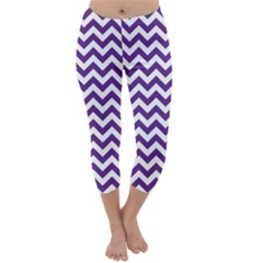 Purple And White Zigzag Pattern Capri Winter Leggings