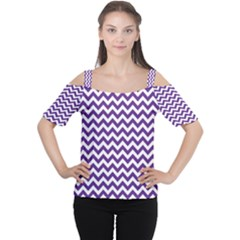Purple And White Zigzag Pattern Women s Cutout Shoulder Tee
